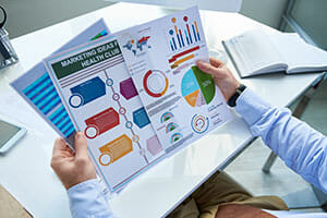 businessman working with graphics